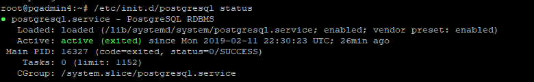 check status of postgreSQL service