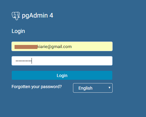 pgadmin4 login credentials