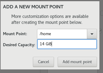 create the home partition
