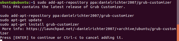Add Grub Customizer PPA