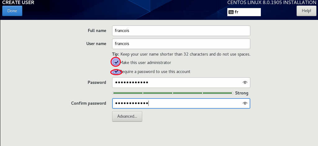 create administrative user account