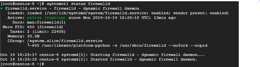check status of firewalld