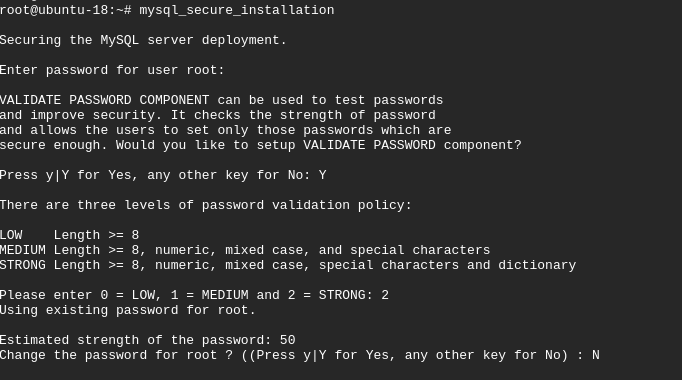 mysql_secure_installation set strong root password