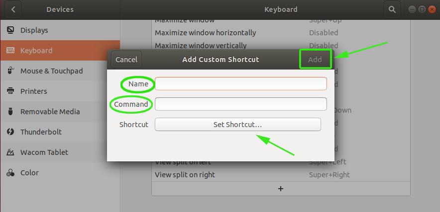 Define Ubuntu keyboard shortcuts