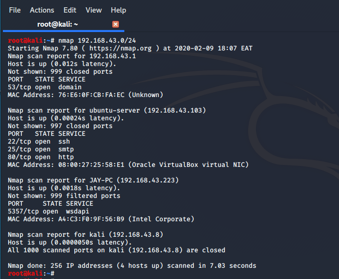 scan a subnet with nmap