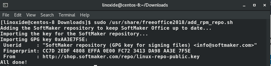 Configure automatic updates for FreeOffice CentOS 8