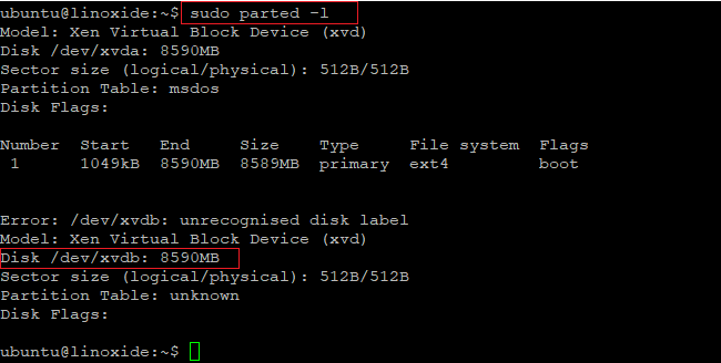 parted command to list disks