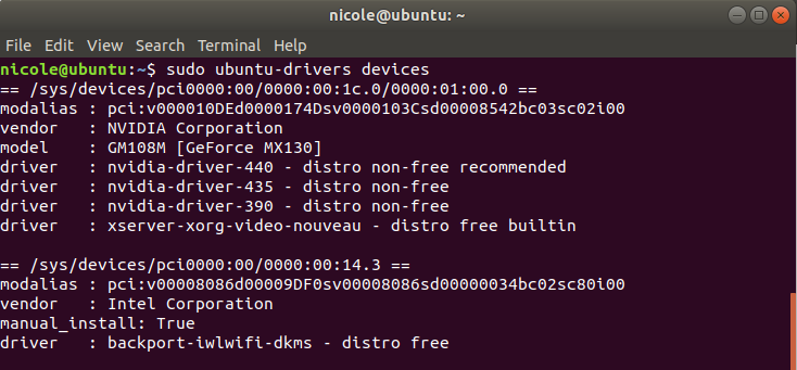 sudo ubuntu-drivers devices