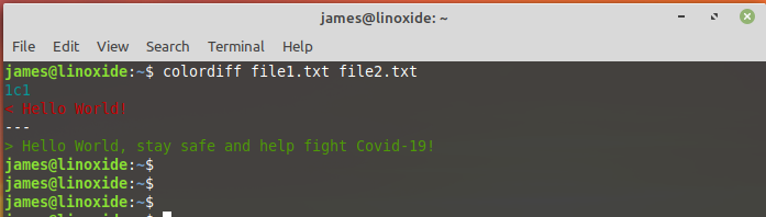 compare two files using colordiff command