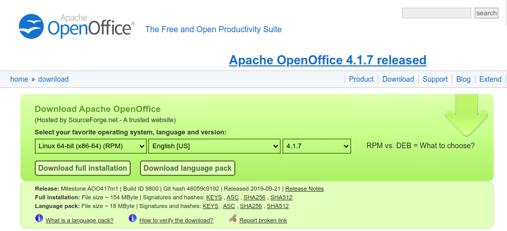 Download RPM package OpenOffice