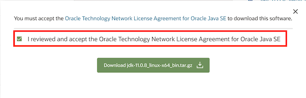 Accept the agreement to download oracle JDK installer