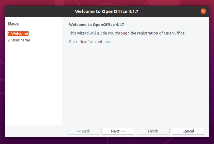 OpenOffice welcome page