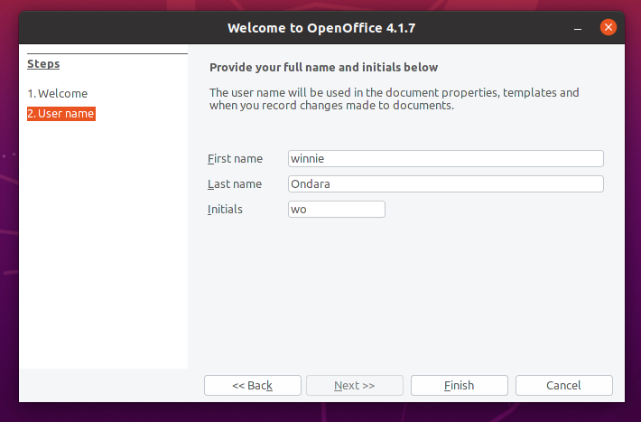 Provide username OpenOffice setup