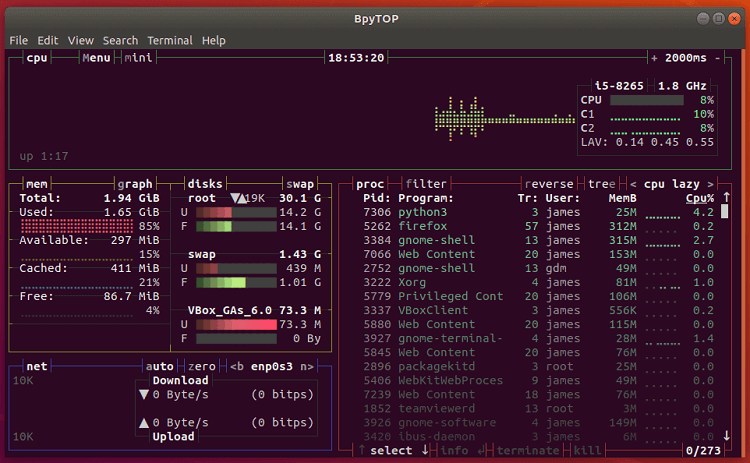 bpytop -An efficient resource monitor