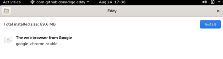 Browse for package file in eddy