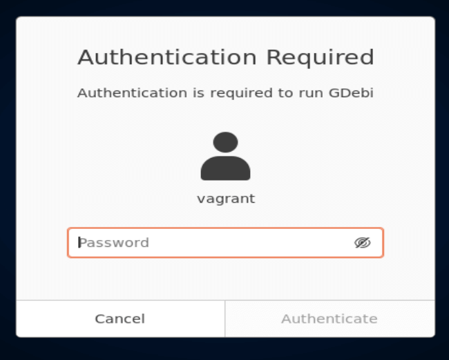 Authentication in gdebi
