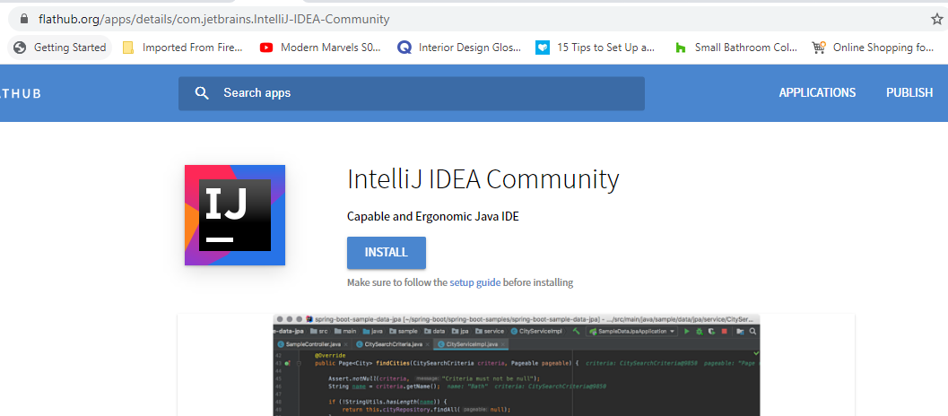 Install IntelliJ from Flatpak