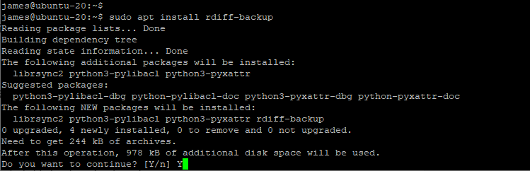 Install Rdiff-backup - A local and remote backup tool