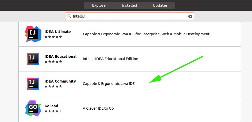 search and select IntelliJ in Ubuntu software Center