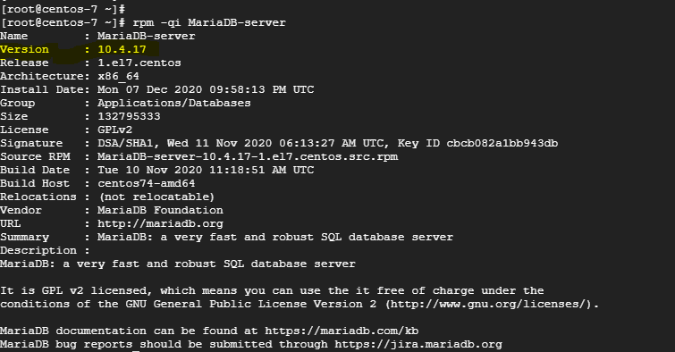 MariaDB on CentOS 7