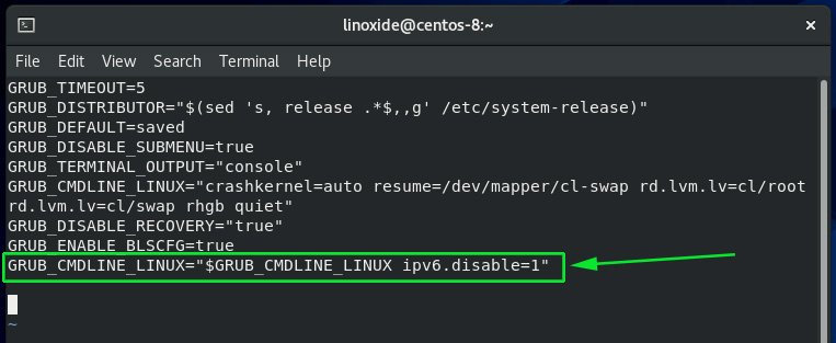 disable IPv6 on CentOS 8 using kernel options