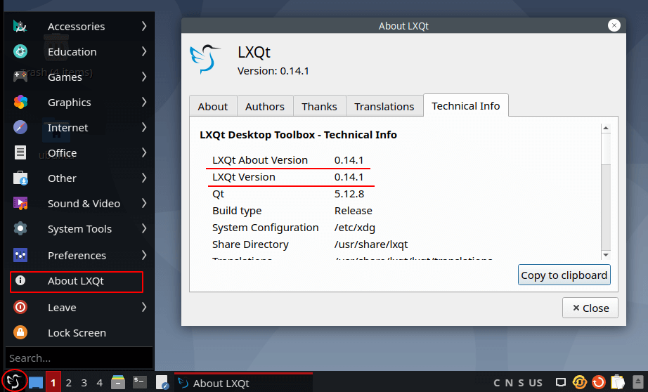 LXQT version in Ubuntu 20.04
