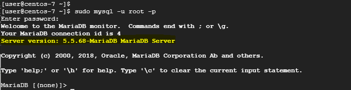 log into MariaDB server