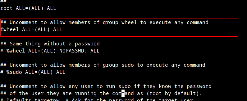 Uncomment Sudoers file in Arch Linux