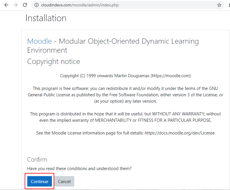 Moodle web installation page