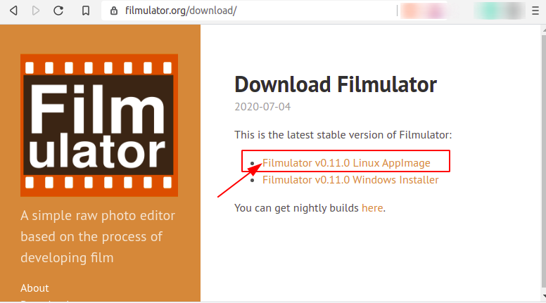Download Filmulator AppImage Package
