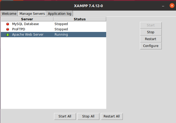 Manage services in XAMMP