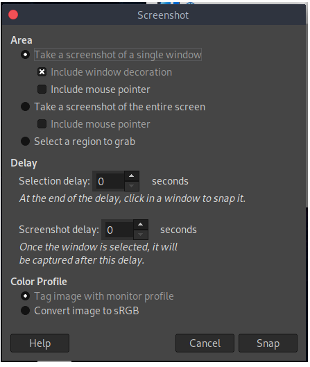 GIMP best screenshot capture tools in Linux