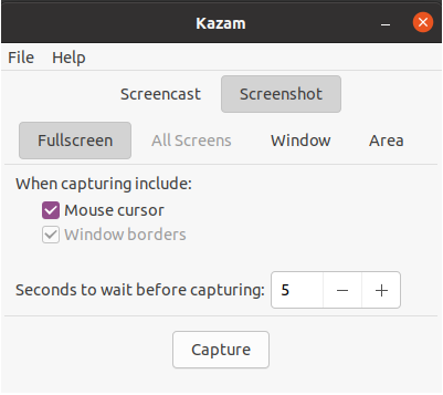 Kazam screen capture tool