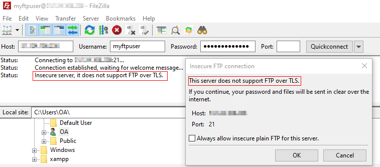 Insecure FTP server notification