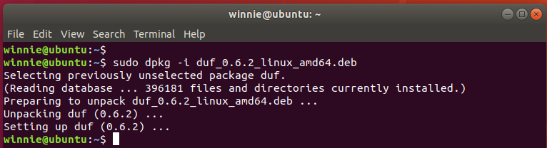 Install duf from Debian package