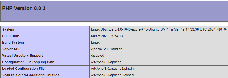 PHP Version 8.0.3 page on Apache