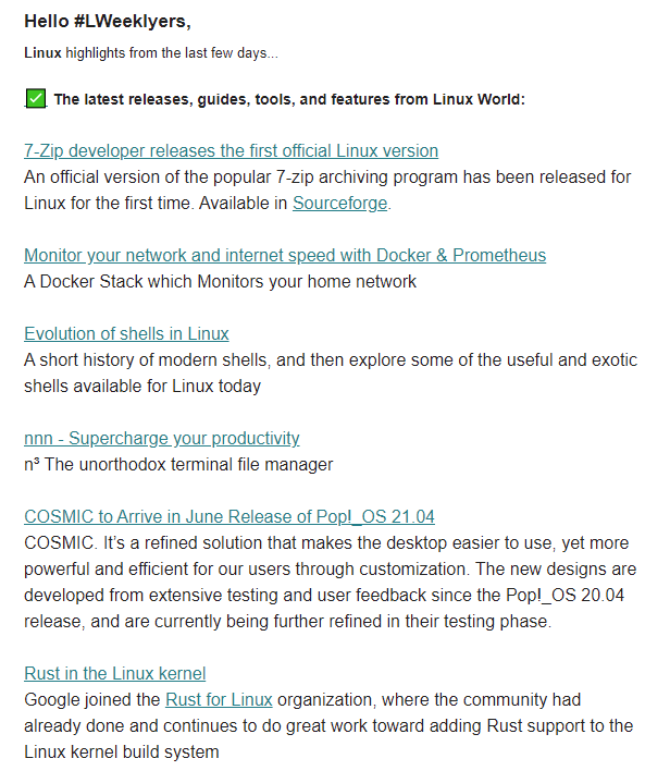 linux newsletter - lweekly format