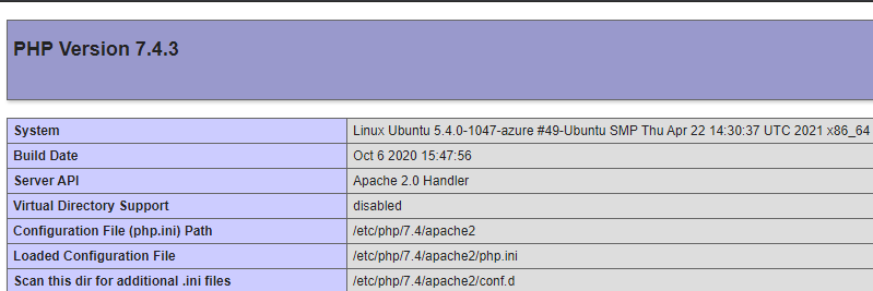 PHP 7.4 version info on Apache2