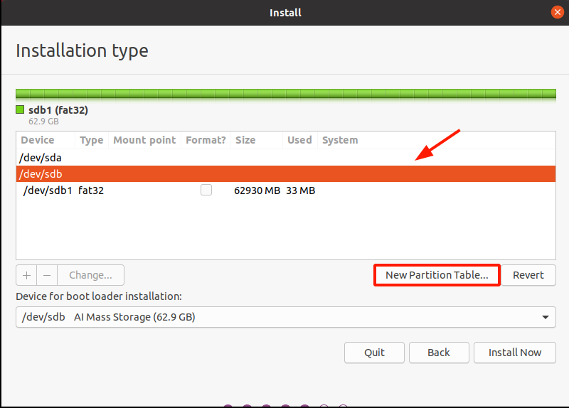 Create a new partition table on the USB drive