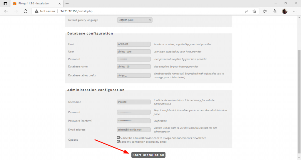 Fill out database configuration and Admin details for Piwigo