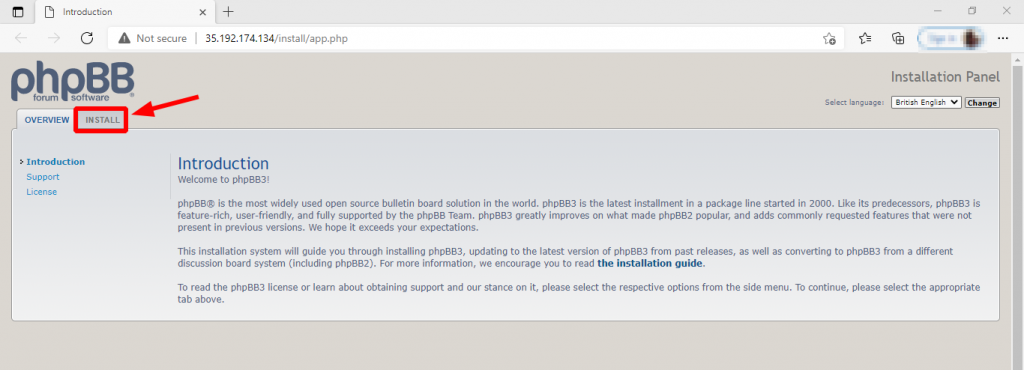 PHPBB information page during installation