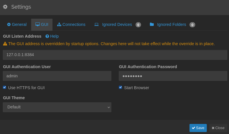Syncthing GUI configuration