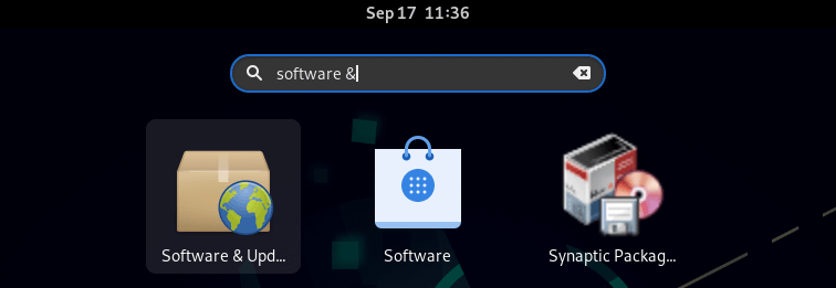 search for 'Software & Updates'