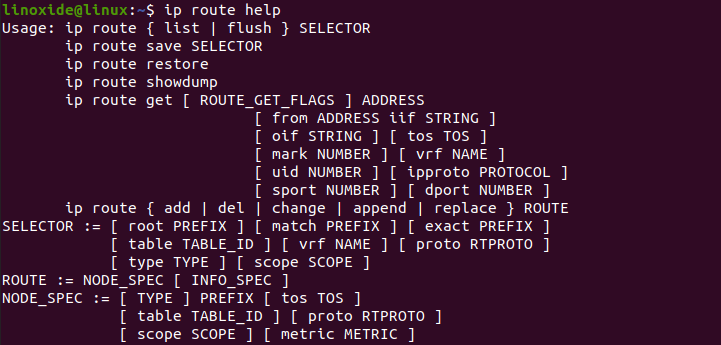 IP Route help command