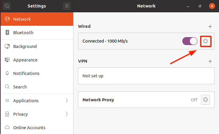 Network settings page
